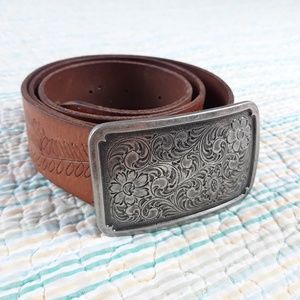 Fossil S Brown Leather Floral Embossed Tooled Belt